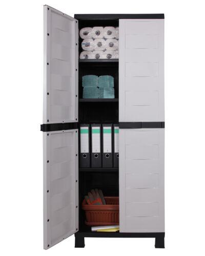 Ondis24 4x Kunststoffschrank Haushaltsschrank Terrassenschrank Prestige Set grau