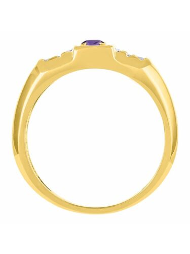 Details about  /Amethyst /& Diamond Ring Set In Yellow Gold Plated Silver BSL-MR2866AMY