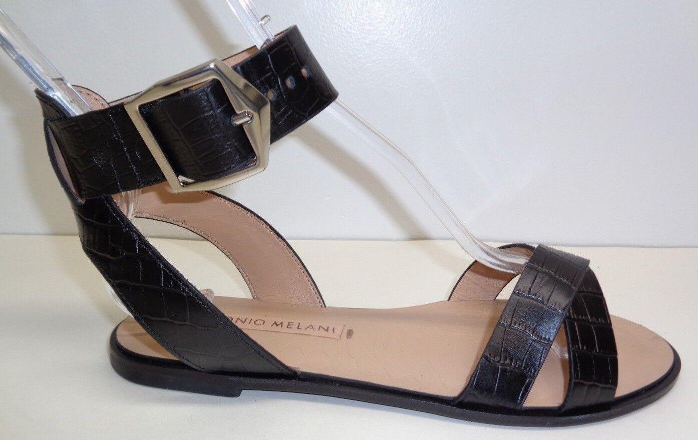 Antonio Melani Size 7.5 M DUANE Black Leather Cross Sandals New Womens shoes