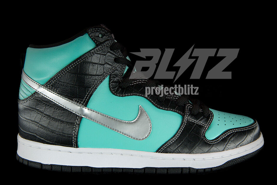 Nike Dunk High Premium SB DIAMOND SUPPLY CO Size 10 AQUA CHROME BLACK 653599-400