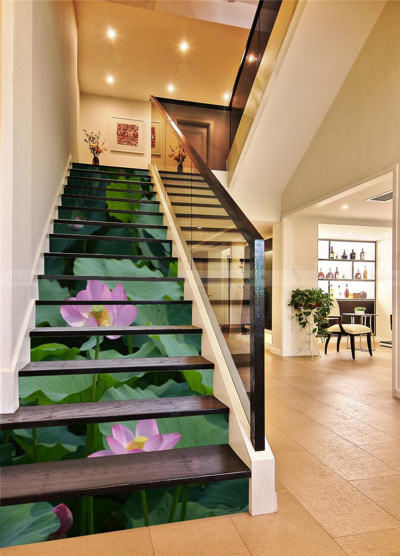 3D Lotus Rosa Rosa Rosa 53 Stair Risers Decoration Photo Mural Vinyl Decal Wallpaper UK b2d923