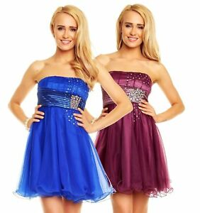 Damen Kleid Bandeau Ballkleid Abendkleid ...