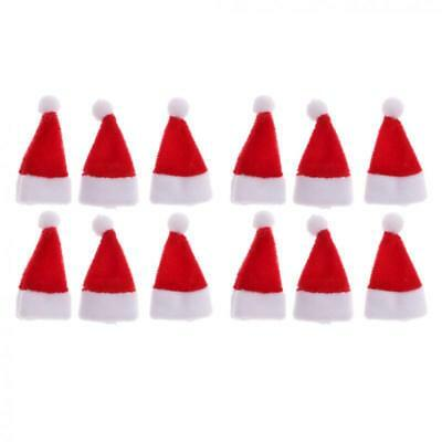 3Pcs Dollhouse Miniature Christmas Santa Claus Hats for 1//12 Scale Decor
