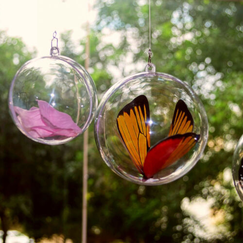 5//50×Clear Plastic Fillable Ornaments Ball Acrylic Bath Bomb Mold Shells Ball
