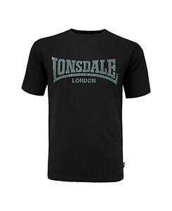 Lonsdale-Black-T-Shirt-Kai-Vintage-Style-Grey-Soft-Touch-Print-Logo-Regular-Fit