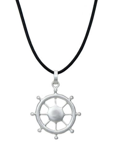 Ella Jonte Kette schwarz silber Steuerrad Rockabilly lange Halskette maritim neu