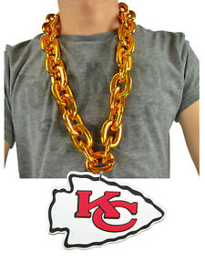 NFL Kansas City Chiefs Fire GOLD Color Fan Chain Necklace Foam Magnet - 2 in 1