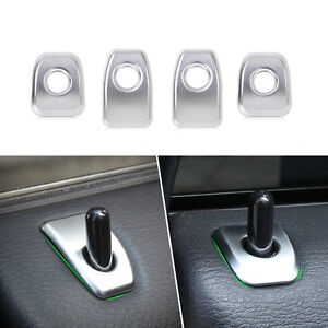 4pcs Matt Chrome Car Door Lock Knob Grommet Ferrule Covers