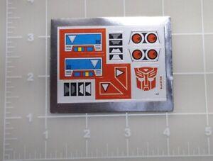 G1 Wheeljack Complete Sticker Decal Sheet