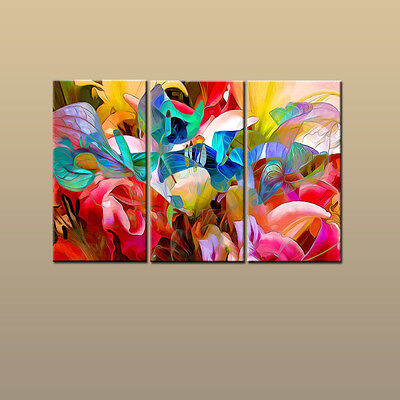 3 Panel Modern Art Wall Home Decor Color Flower Abstract Painting Printed Canvas Ebay