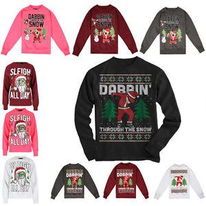 Limited Edition Mens Christmas Dabbin Through The Snow Ugly Sweatshirt Top S-XXL