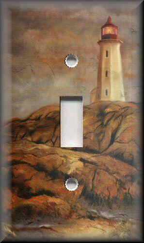 Metal Light Switch Plate Cover Beach Home Decor Lighthouse Brown Nautical Decor