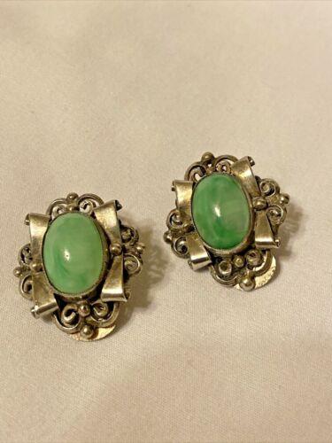 Silver 800 Green Stone Clip-on Earrings Vintage