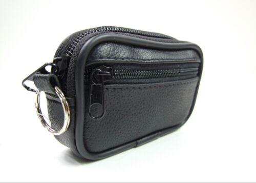Femmes enfants homme en cuir Sac à Main Poche Pièce Fermeture éclair 2 Pocket Wallet Key Holder Noir