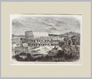 1876-VISTA-DEL-COLISEO-DE-ROMA-GRABADO-ORIGINAL-CON-PASSEPARTOUT-DOBLE