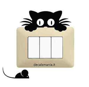 Adesivo-Stickers-Tuning-Gattino-e-topolino-gatto-muro-specchio-parete-auto
