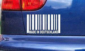Hecho-en-Deutschland-Alemania-codigo-de-barras-Divertido-Coche-Bumper-Adhesivo