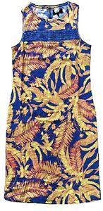 BN-NEXT-LADIES-LINEN-BLEND-FLORAL-PRINT-SUMMER-SHIFT-DRESS-TUNIC-S-6-26-15-99