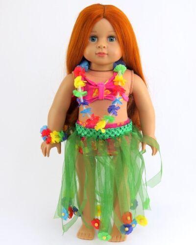 "Green Hawaiian Hula Swim /& Luau Set for American Girl 18/"" Doll Clothes US SELLER"