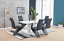 thumbnail 2 - High-Gloss-Dining-Table-Set-And-6-Chrome-Leather-Dining-Chairs