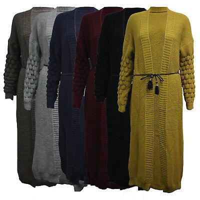 Womens Ladies Italian Bobble Knitted Long Sleeve Belted Boyfriend knit Cardigan