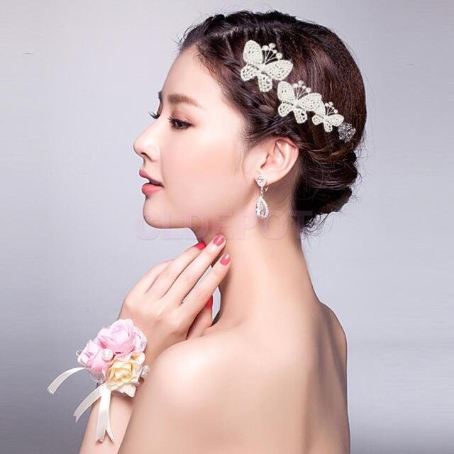 Bridal Bridesmaid Wedding Hair Jewelry Pearls Crystal Headband Tiara Head Piece