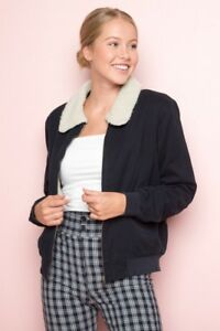abb81d7fe Details about brandy melville navy blue cotton aviator Nelson fur bomber  jacket NWT OS