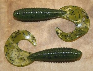 "50 pk 3/"" Fat Grub Bass Plastic Worm Green Pumpkin Bulk Bag Jig Trailer Worm"