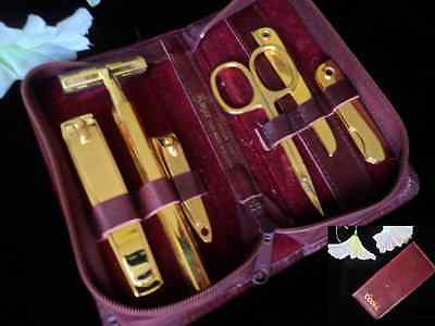 Royce 6-Piece Gold-Plated Manicure Set Leather Case from Austria For COORS