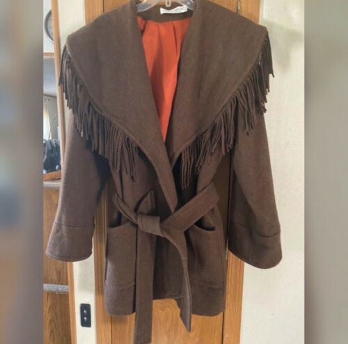 Donnybrook Wool with Leather Fringe Brown Coat Re… - image 1