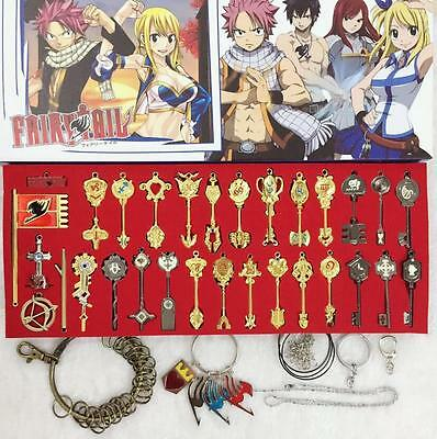 25pcs New Fairy Tail Lucy Metal Keys Pendant Necklace And Keychain Without Box