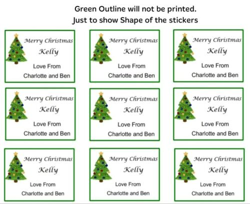 Tree 24 x Personalised Christmas Stickers Labels  Presents Tags Gifts Favour
