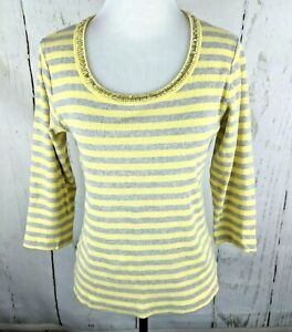 1f3333e98f by CHICO S Ribbed Knit Striped Shirt Sz 1 Sequin Top 3 4 Sleeve ...