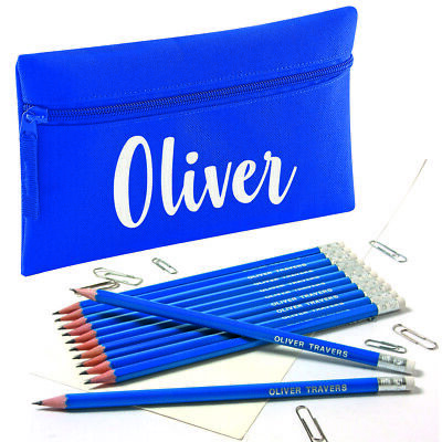 Personalised Pencil Case with12 Embossed Rubber Tipped HB Pencils Maroon