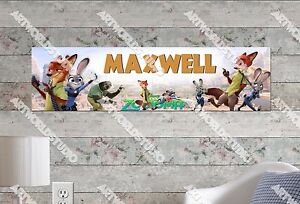 Personalized Name Poster Customized Birthday Party Banner Decor Zootopia