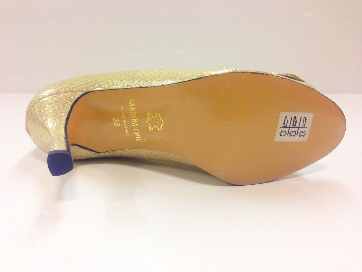 Sabrina Chic Womens Gold Peep Toe Heel 3 Court Shoes - UK 3 Heel / EU 36 (2438 P-L 809) c0626f