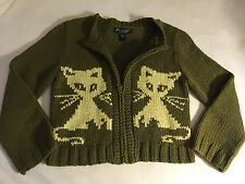 Size Small Betsey Johnson Zip Cardigan Knit Sweater Green with Yellow Kitty Cats