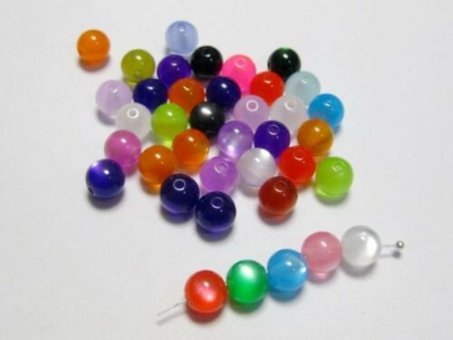 Craft DIY Mixed Color Acrylic Cats eye Round Beads 6mm 8mm 10mm Jewelry Making