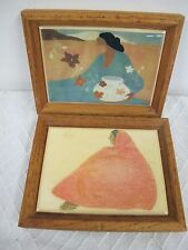 KIMBERLY ENTERPRISES TILES 2 WALL PLAQUES  PICTURES INDIAN LADY WOMAN OAK FRAME