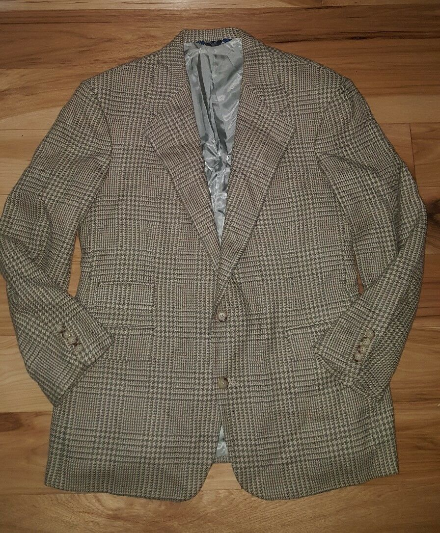 POLO RALPH LAUREN Vintage Two Button Houndstooth Dble Vent Blazer Sportcoat 44 R