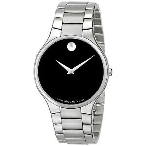 Movado 0607283 Men's Serio Black Dial Steel Bracelet Quartz Watch