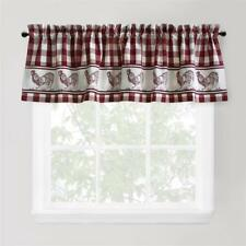 Park B.Smith BERRY VINE RED CHECK COTTON 60 x 16 inch Rod Pocket Valances TWO