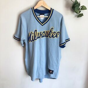 best sneakers b3348 bda56 Details about AUTHENTIC Majestic PRINCE FIELDER Milwaukee Brewers Retro  Jersey 28 Blue Yellow