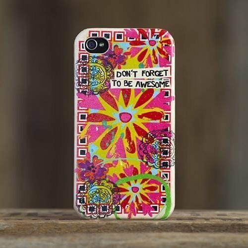 Natural Life Be Awesome Iphone 4s 4 Cell Phone Case Cover Hard Cover Flower