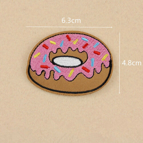8Pcs Fabric Applique Donuts Fruit Embroidery Sew Iron On Patch Badge Bag Clothes