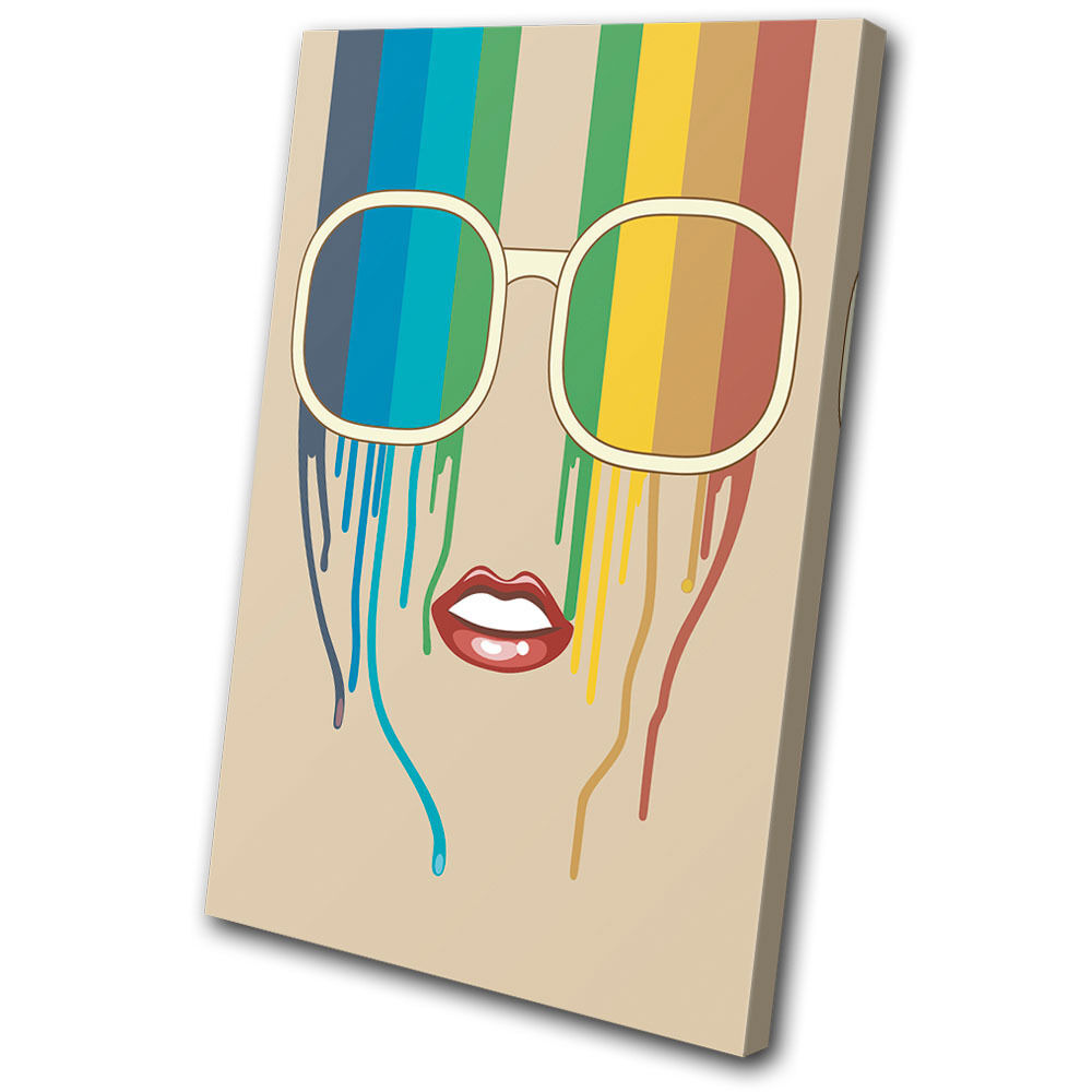 Fashion Rainbow Face Retro arte  SINGLE LONA pared arte Retro Foto impresion 6f1493