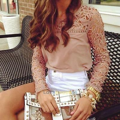 2017 New Womens Casual Long Sleeve Shirt Lace Crochet Emboriey Loose Tops Blouse