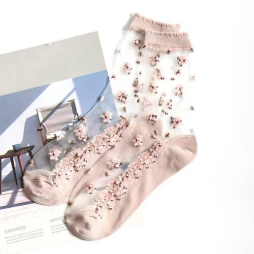 Summer Spring Women Socks Cool Crystal Silk Socks Short Tube Jacquard Socks