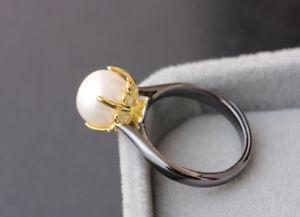 B06 Ring Vergoldete Krone Süßwasser Perle Sterling Silber 925 Größenverstellbar Fashionable And Attractive Packages Fine Rings