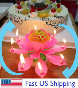 ROTATING Lotus Candle Birthday Flower Musical Floral Cake Candles w